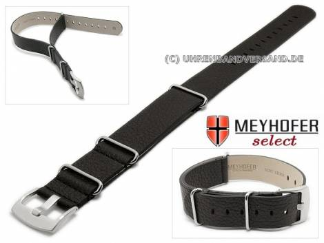 Watch strap -Herford- 24mm black leather grained by MEYHOFER - Bild vergrößern