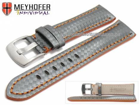 Watch strap -Rheinsberg- 24mm grey leather sporty carbon look orange stitching by MEYHOFER (width of buckle 20 mm) - Bild vergrößern