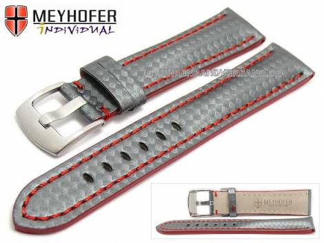 Watch strap -Rheinsberg- 24mm grey leather sporty carbon look red stitching by MEYHOFER (width of buckle 20 mm) - Bild vergrößern