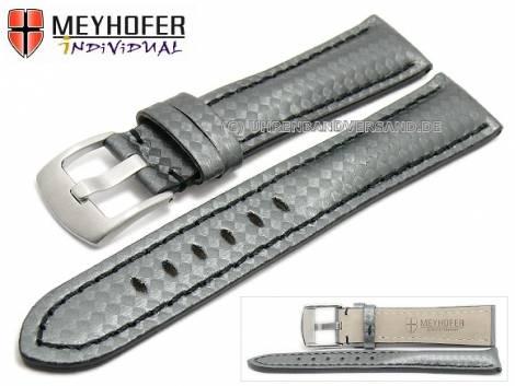 Watch strap -Rheinsberg- 24mm grey leather sporty carbon look black stitching by MEYHOFER (width of buckle 20 mm) - Bild vergrößern