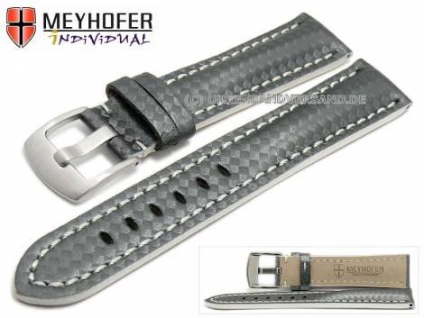 Watch strap -Rheinsberg- 24mm grey leather sporty carbon look white stitching by MEYHOFER (width of buckle 20 mm) - Bild vergrößern