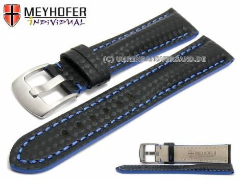 Watch strap -Rheinsberg- 24mm black leather sporty carbon look blue stitching by MEYHOFER (width of buckle 20 mm) - Bild vergrößern