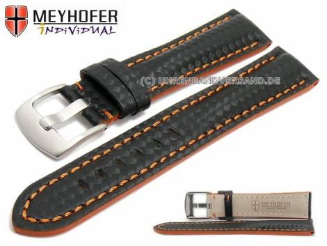 Watch strap -Rheinsberg- 24mm black leather sporty carbon look orange stitching by MEYHOFER (width of buckle 20 mm) - Bild vergrößern