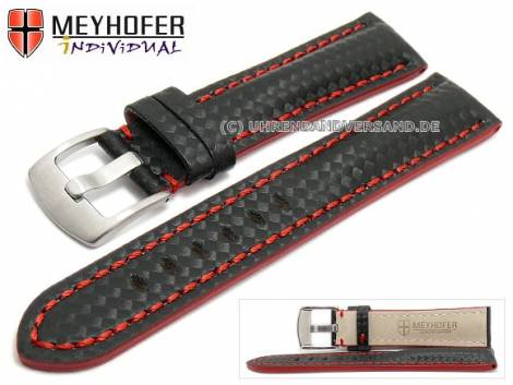 Watch strap -Rheinsberg- 24mm black leather sporty carbon look red stitching by MEYHOFER (width of buckle 20 mm) - Bild vergrößern