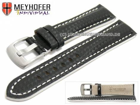 Watch strap -Rheinsberg- 24mm black leather sporty carbon look white stitching by MEYHOFER (width of buckle 20 mm) - Bild vergrößern