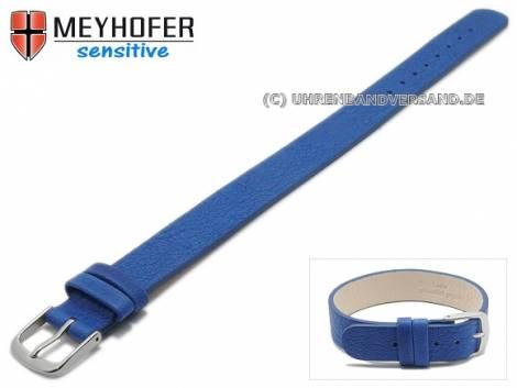 Watch strap -Bergen- 12mm blue leather grained by MEYHOFER - Bild vergrößern