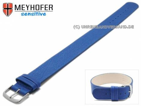 Watch strap -Bergen- 16mm blue leather grained by MEYHOFER - Bild vergrößern