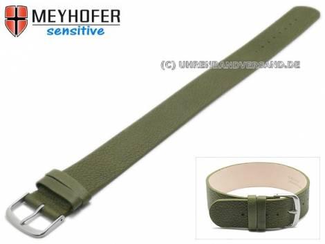 Watch strap -Bergen- 16mm oliv green leather grained by MEYHOFER - Bild vergrößern