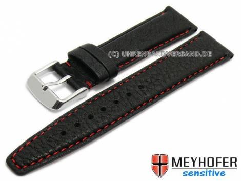 Watch strap -Rostock- 17mm black leather grained red stitching  by MEYHOFER (width of buckle 14 mm) - Bild vergrößern