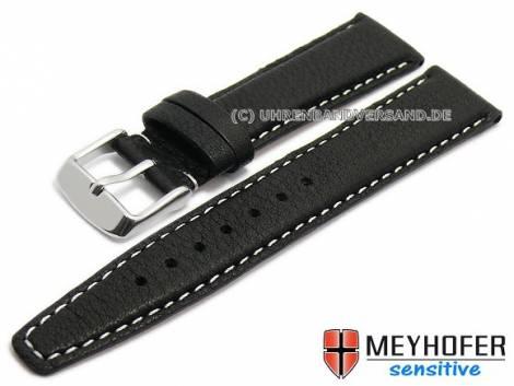 Watch strap -Rostock- 22mm black leather grained light stitching  by MEYHOFER (width of buckle 20 mm) - Bild vergrößern