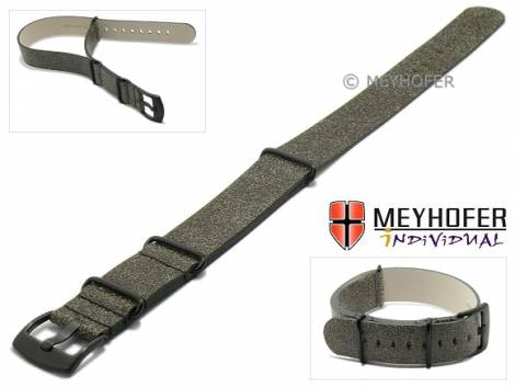 Watch strap -Laval- 20mm antique-black leather vintage look with black buckle by MEYHOFER - Bild vergrößern