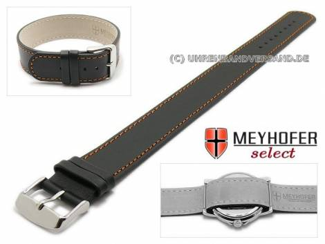 Watch strap -Prag- 18mm black leather smooth orange stitching by MEYHOFER - Bild vergrößern