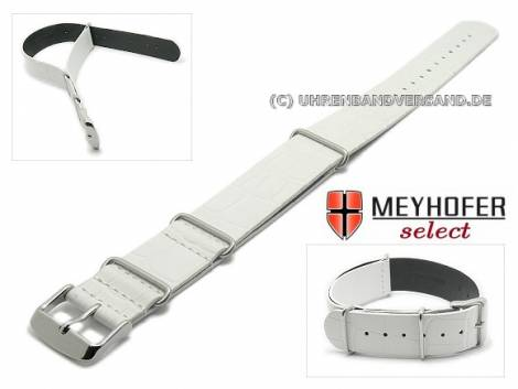 Watch strap -Maracay- 22mm white leather alligator grain NATO one-piece strap by MEYHOFER - Bild vergrößern