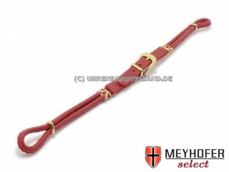 Cordette watch strap -Dori- red leather smooth golden buckle by Meyhofer - Bild vergrößern