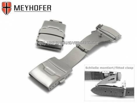 Security clasp -Pankow- 18mm titanium brushed with push-button release - Bild vergrößern