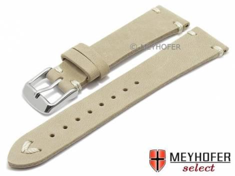 Watch strap -Tamworth- 19mm beige/sand leather vintage look light stitching by MEYHOFER (width of buckle 16 mm) - Bild vergrößern
