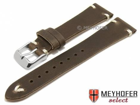 Watch strap -Tamworth- 19mm dark brown leather vintage look light stitching by MEYHOFER (width of buckle 16 mm) - Bild vergrößern