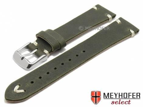 Watch strap -Tamworth- 19mm dark green leather vintage look light stitching by MEYHOFER (width of buckle 16 mm) - Bild vergrößern