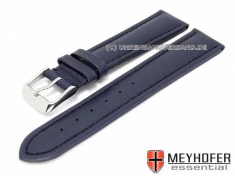 Watch strap XL -Narita- 20mm dark blue leather smooth stitched by MEYHOFER (width of buckle 18 mm) - Bild vergrößern