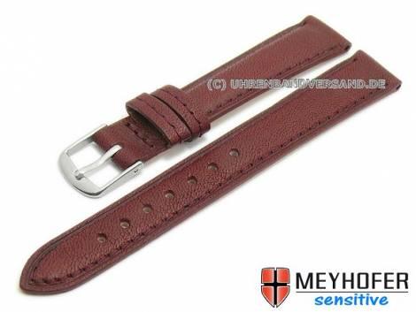 Watch band -Alvesta- 14mm bordeaux grained genuine calf leather by MEYHOFER (width of buckle 12 mm) - Bild vergrößern