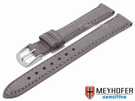Watch band -Alvesta- 12mm grey grained genuine calf leather MEYHOFER (width of buckle 10 mm) - Bild vergrößern