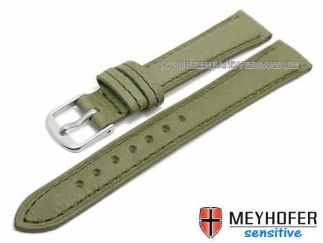 Watch band -Alvesta- 12mm olive green grained genuine calf leather by MEYHOFER (width of buckle 10 mm) - Bild vergrößern