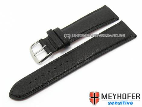 Watch band -Alvesta- 22mm black grained genuine calf leather by MEYHOFER (width of buckle 20 mm) - Bild vergrößern
