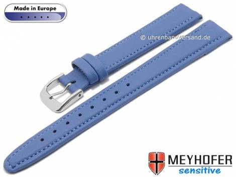 Watch strap -Kenwick- 14mm light blue synthetics VEGAN suede like stitched by MEYHOFER (width of buckle 12 mm) - Bild vergrößern