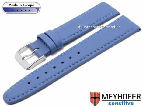 Watch strap -Kenwick- 16mm light blue synthetics VEGAN suede like stitched by MEYHOFER (width of buckle 14 mm) - Bild vergrößern
