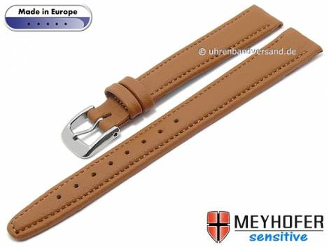 Watch strap -Kenwick- 14mm light brown synthetics VEGAN suede like stitched by MEYHOFER (width of buckle 12 mm) - Bild vergrößern