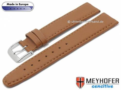 Watch strap -Kenwick- 16mm light brown synthetics VEGAN suede like stitched by MEYHOFER (width of buckle 14 mm) - Bild vergrößern