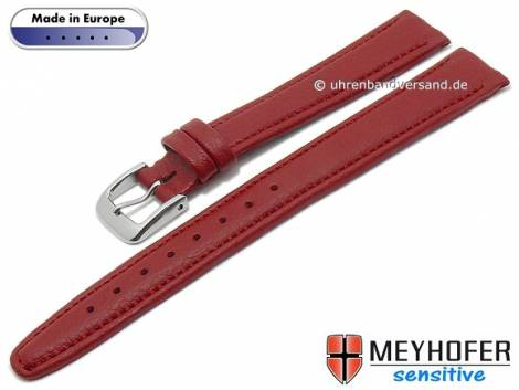 Watch strap -Kenwick- 14mm red synthetics VEGAN suede like stitched by MEYHOFER (width of buckle 12 mm) - Bild vergrößern