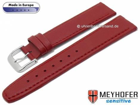 Watch strap -Kenwick- 16mm red synthetics VEGAN suede like stitched by MEYHOFER (width of buckle 14 mm) - Bild vergrößern
