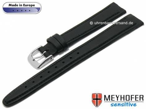 Watch strap -Kenwick- 14mm black synthetics VEGAN suede like stitched by MEYHOFER (width of buckle 12 mm) - Bild vergrößern