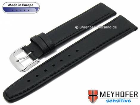 Watch strap -Kenwick- 22mm black synthetics VEGAN suede like stitched by MEYHOFER (width of buckle 20 mm) - Bild vergrößern