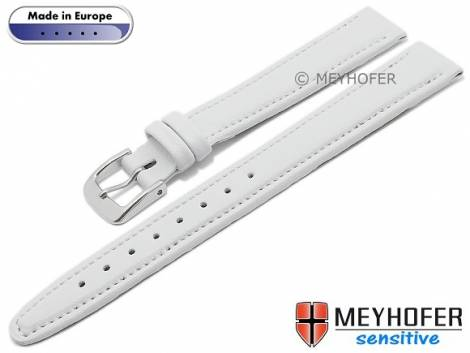 Watch strap -Kenwick- 14mm white synthetics VEGAN suede like stitched by MEYHOFER (width of buckle 12 mm) - Bild vergrößern