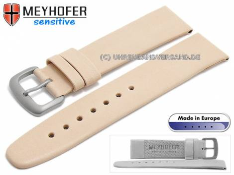 Watch strap L (long) 16mm -Belvedur- beige leather untreated vegetable tanned smooth by MEYHOFER (width of buckle 14 mm) - Bild vergrößern