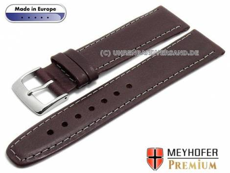 Watch strap -Zagreb- 21mm bordeaux leather vintage look light stitching by MEYHOFER (width of buckle 18 mm) - Bild vergrößern
