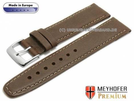 Watch strap -Zagreb- 21mm dark brown leather vintage look light stitching by MEYHOFER (width of buckle 18 mm) - Bild vergrößern
