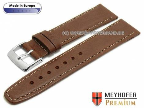 Watch strap -Zagreb- 21mm brown leather vintage look light stitching by MEYHOFER (width of buckle 18 mm) - Bild vergrößern