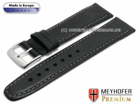 Watch strap -Zagreb- 19mm black leather vintage look light stitching by MEYHOFER (width of buckle 16 mm) - Bild vergrößern