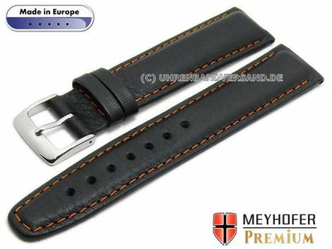 Watch strap L (long) -Naumburg Special- 20mm black leather grained orange stitching by MEYHOFER (width of buckle 18 mm) - Bild vergrößern