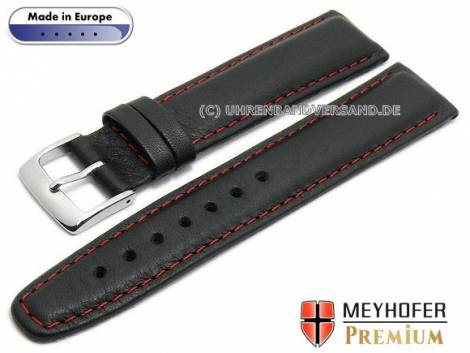 Watch strap L (long) -Naumburg Special- 18mm black leather grained red stitching by MEYHOFER (width of buckle 18 mm) - Bild vergrößern