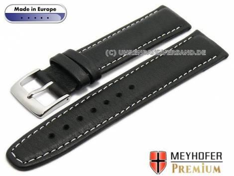 Watch strap L (long) -Naumburg- 19mm black leather grained light stitching by MEYHOFER (width of buckle 18 mm) - Bild vergrößern