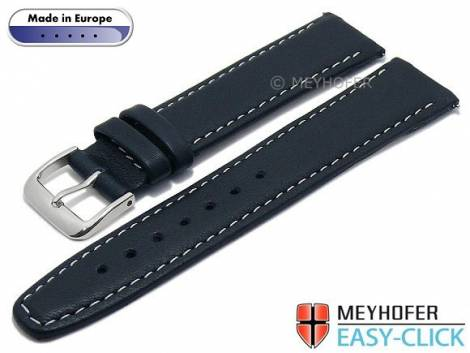 Meyhofer EASY-CLICK watch strap -Tabor- 18mm dark blue leather grained light stitching (width of buckle 16 mm) - Bild vergrößern