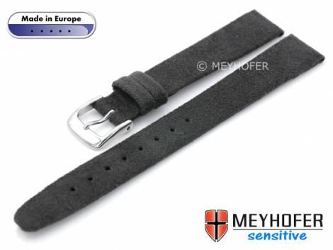 Watch strap -Licata- 14mm anthracite VEGAN Alcantara suede like by MEYHOFER (width of buckle 12 mm) - Bild vergrößern
