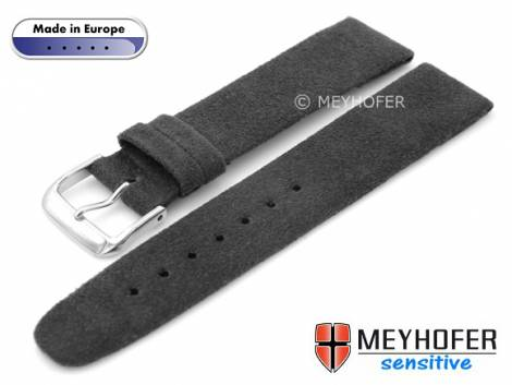 Watch strap -Licata- 22mm anthracite VEGAN Alcantara suede like by MEYHOFER (width of buckle 20 mm) - Bild vergrößern