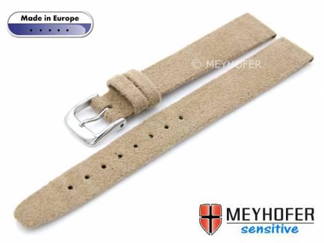 Watch strap -Licata- 14mm beige VEGAN Alcantara suede like by MEYHOFER (width of buckle 12 mm) - Bild vergrößern