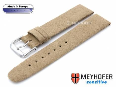 Watch strap -Licata- 20mm beige VEGAN Alcantara suede like by MEYHOFER (width of buckle 18 mm) - Bild vergrößern