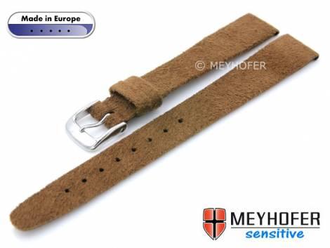 Watch strap -Licata- 14mm brown VEGAN Alcantara suede like by MEYHOFER (width of buckle 12 mm) - Bild vergrößern